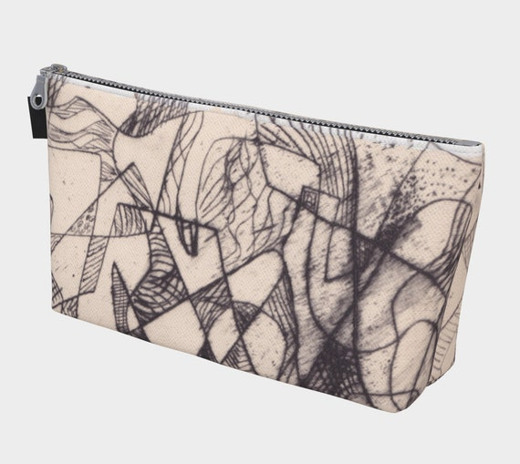 Florentine Lines Make Up Bag, Toiletry Bag, Black and tan, modern, abstract, gadget bag, multipurpose carryall, shipping included
