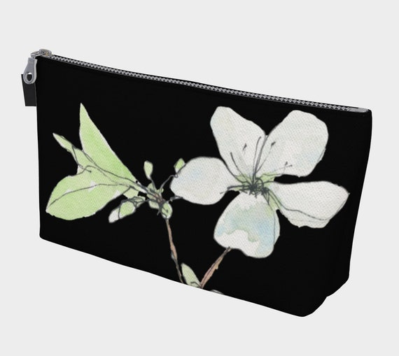 White Spring Blossoms Cosmetics Bag, Toiletry Bag, Makeup Bag, dramatic, exotic, modern, watercolour, black and white, sophisticated