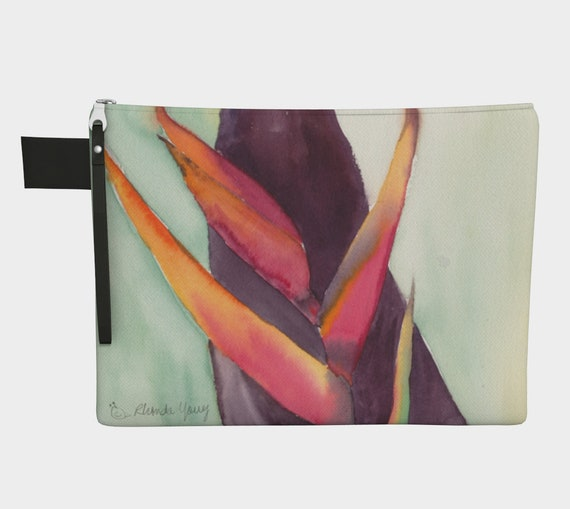 Heliconia & leaf zipper carry-all, clutch, tropical, modern, colourful, watercolour, exotic, botanical, statement purse, modern clutch