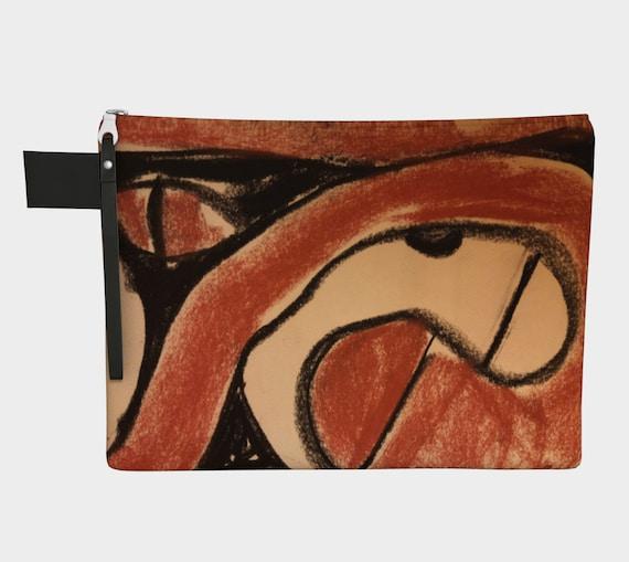 Trypillian Snake & Eye Clutch Carry-all,  purse, gadget bag, Ukrainian, Modern, Abstract, Terracotta, Pysanka, neolithic pottery