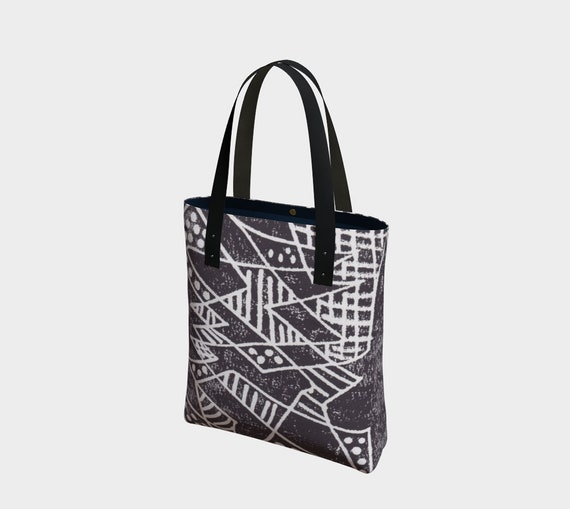 Black & White Lines  Dots, art tote, statement bag, abstract, geometric