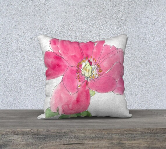 Pink Bubble Gum Peony art pillow cover, fun accent pillow, watercolour, summer, happy decor, pink and green