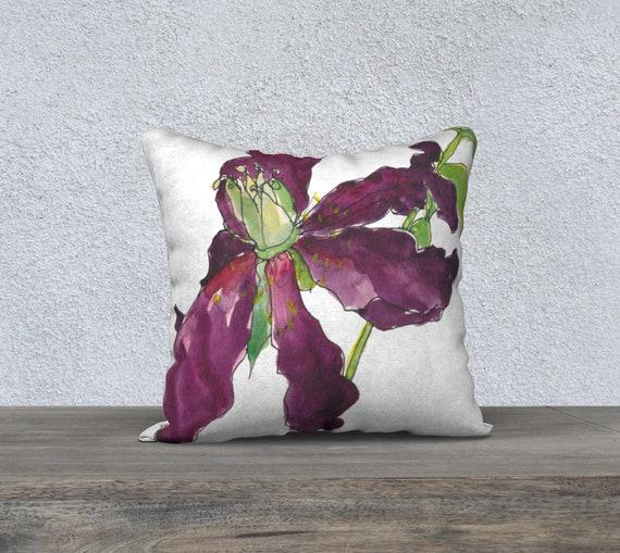 burgundy Tree Peony art pillow, decorative accent pillow, watercolour, sophisticated, memento mori