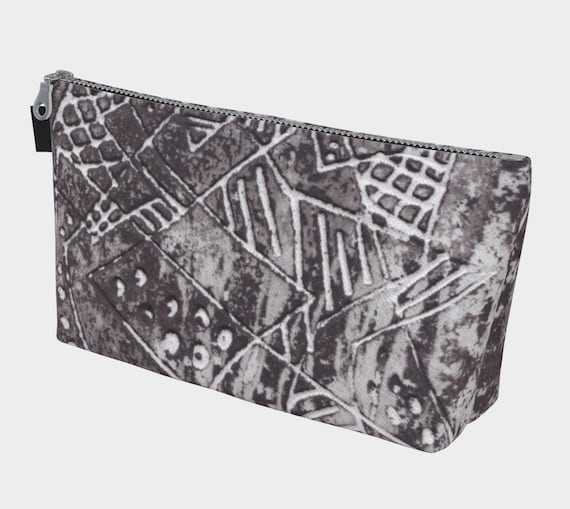 Gray intersecting lines  toiletry bag, cosmetic bag, multipurpose bag, modern, abstract
