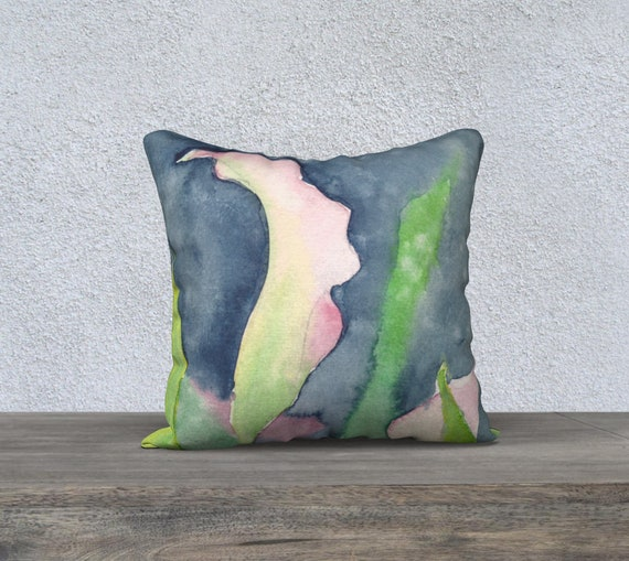 Pink Calla, decorative pillow cover, modern decor, watercolour
