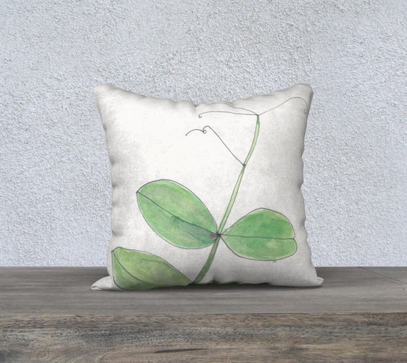 Pea Tendril, Fresh Green decorative pillow cover, accent pillow, botanical, watercolor, botanical pillow