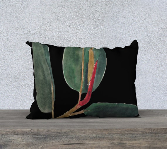 Dark Green Rubber Plant Black Background Rectangle Pillow Cover, Art Pillow, accent pillow, botanical, foliage, pop of red, watercolor