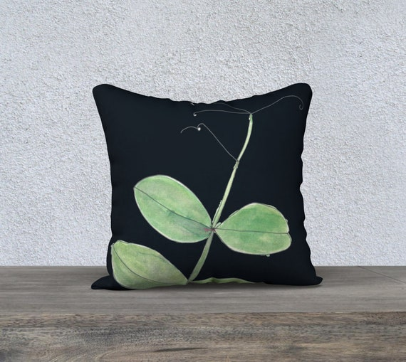 Pea Tendril with Black background, fresh green decorative pillow cover, accent pillow, art pillow case, botanical, watercolour, bold, modern