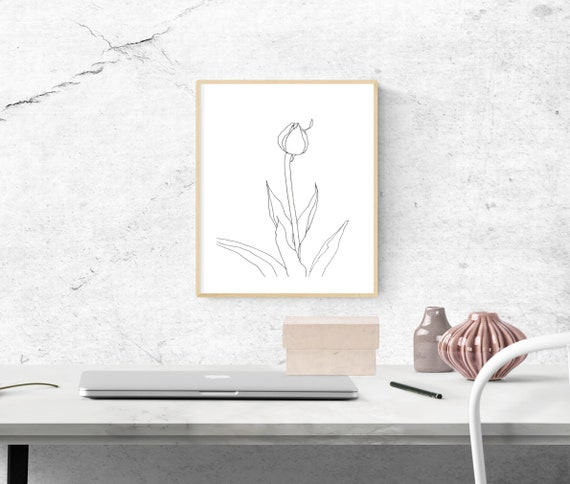 The Regent's Park Tulip #2, floral art print, nature, minimalist, flower, archival print, botanical art, giclee on paper, contemporary art