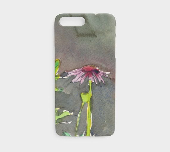 Pink & red coneflower iPhone 7 or 8 device case, art phone case, watercolour phone case, floral phone case, modern, art to go, free shipping
