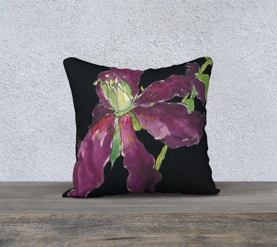 Burgundy dying tree peony, black background, art pillow cover, decorative pillow cover, modern decor, green and burgundy