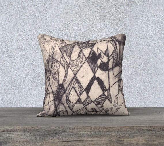 Florentine Lines, decorative pillow cover, modern decor, abstract, Black and Tan, art pillow