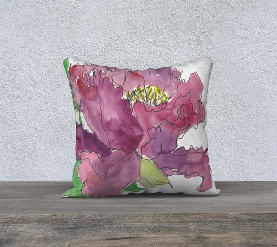 Burgundy tree peony decorative pillow cover, art pillow, watercolor sketch, botanical art, floral illustration, sophisticated decor