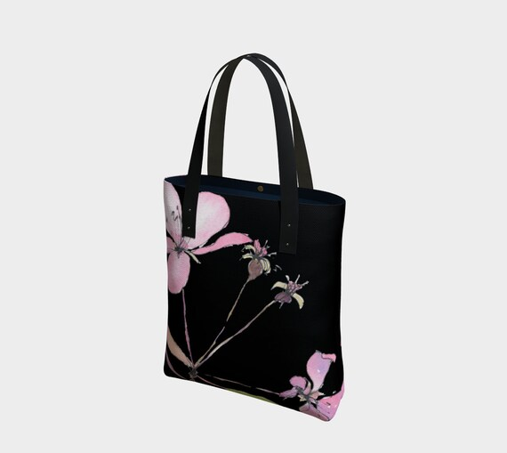 Pink spring blossoms bag, dramatic, sophisticated, watercolour