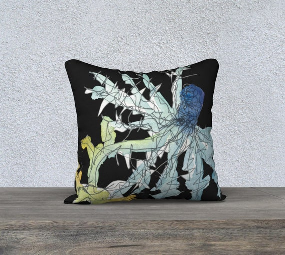 Blue Thistle Sea Holly Black Background art pillow cover, watercolour and ink sketch, decorative pillow cover, modern accent pillow, floral