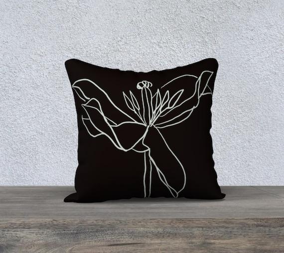 Regent's Park Tulip 1 pillow cover, Black & White art pillow, sophisticated, minimalist, line art, floral, botanical illustration, modern