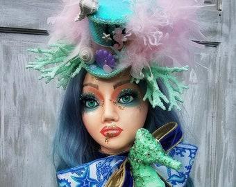 Mermaid Decor, Mannequin Head Display, Mermaid Mannequin, Mannequin Head, Top Hat, Handpainted Mannequin, Home Decor Wreath, Everyday
