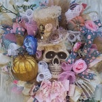 Miss Havisham Wreath, Skull Wreath, Halloween Wreath For Front Door, Halloween Wreath, Victorian Halloween Wreath, Skeleton Wreath