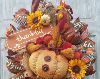 Fall Swag, Wreath, Fall Autumn Harvest Swag, Turkey Wreath, Thanksgiving Wreath for Front Door, Thanksgiving Swag, Autumn