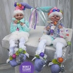 "Raz Imports Set of 2 Donut Open Til Christmas 9"" Posable Christmas Elves, Elf Set, Pastel Candy Elf, Elf Decor, Pastel Elf, Raz Christmas"