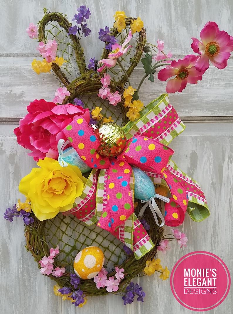 Grapevine Bunny Bunny Doorhanger Easter Wreath For Front image 0