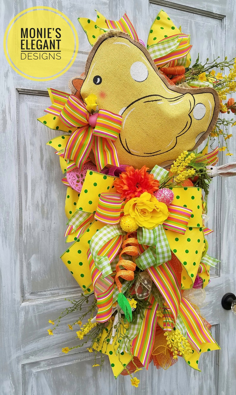 XL Easter Swag Easter Wreath Easter Chick Wreath Spring image 0