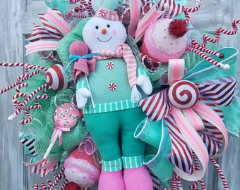 Snowman Wreath, Bright Christmas,  Pink Green Christmas, Classic Christmas, Christmas Swag, Christmas Wreath, Front Door Christmas Wreath