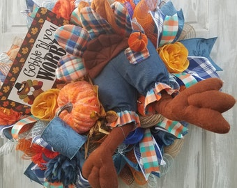 Fall Wreath For Front Door, Rustic Fall Wreath, Turkey Butt Wreath, Thanksgiving Wreath for Front Door, Thanksgiving Swag, Autumn Swag