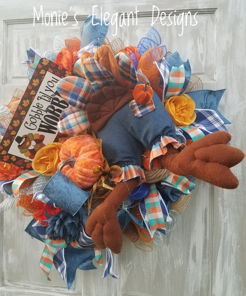 Fall Wreath For Front Door Rustic Fall Wreath Turkey Butt image 0
