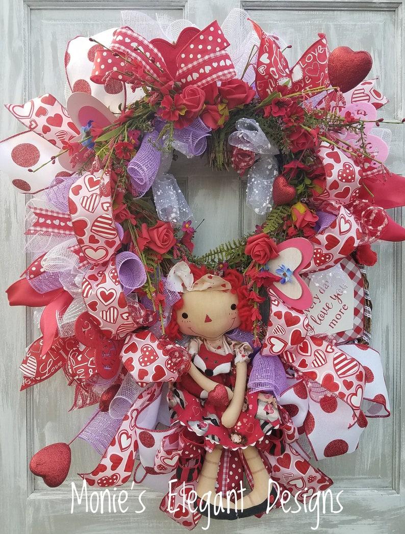 Valentine Floral Valentine Swag Rag Doll Valentine Wreath image 0