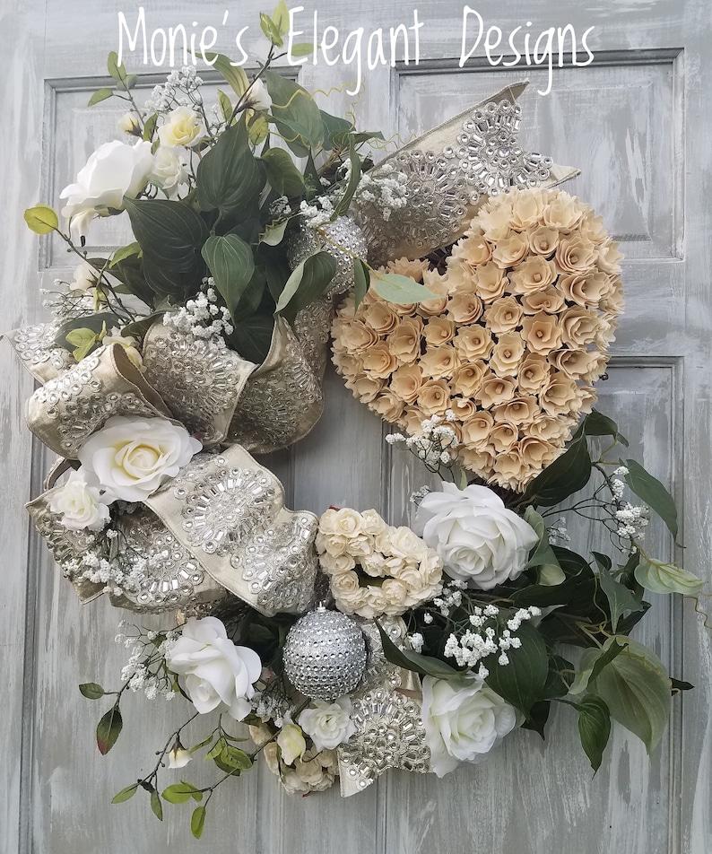 Elegant Wedding Decor Bridal Gift Heart Wreath Wedding image 0