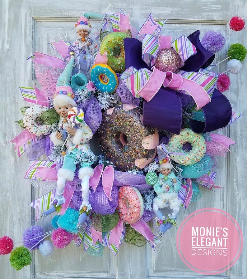Christmas Wreath Christmas Decor Candy Land Wreath Elf image 0
