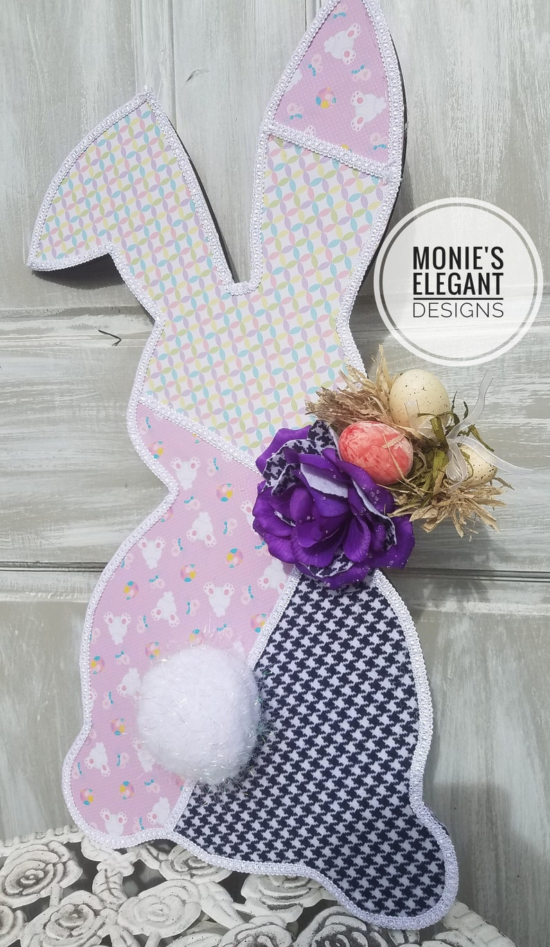 Easter Wood Bunny Wreath Accent Easter Bunny Sign Spring image 0