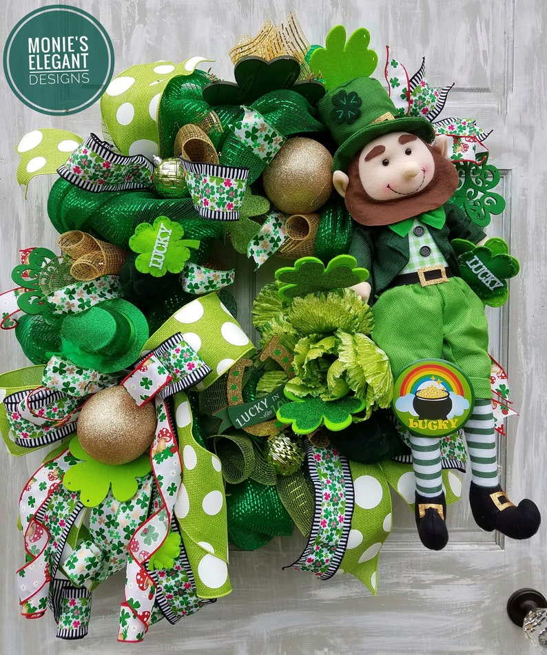 St. Patricks Day Wreath Green Wreath St Pattys Day Wreath image 0