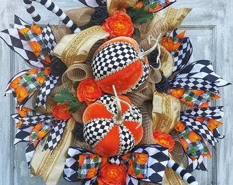 Fall Rustic Wreath, Mark Robert's Pumpkins, Fall Wreath Decor, Fall Decorations, Thanksgiving Wreaths, Fall Burlap Wreath, Fall Door Hanger