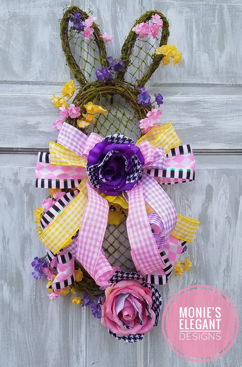 Grapevine Bunny Bunny Doorhanger Easter Wreath For Front image 0