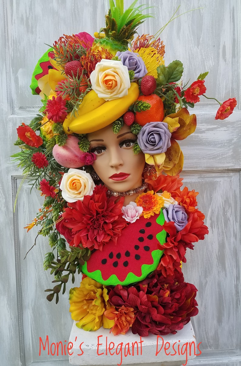 Mannequin Head Display Mannequin Head Floral Tabletop image 0