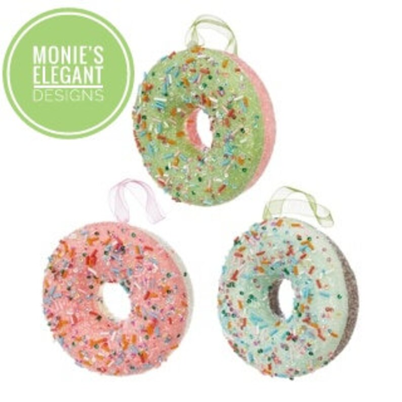 Raz Donut with Sprinkles Christmas Ornament Set of 3 Fake image 0