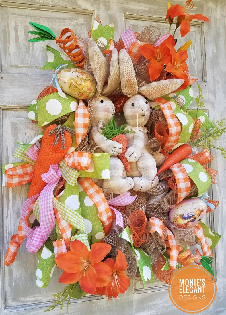 Easter Bunny Wreath Easter Wreath Grapevine Bunny Easter image 0