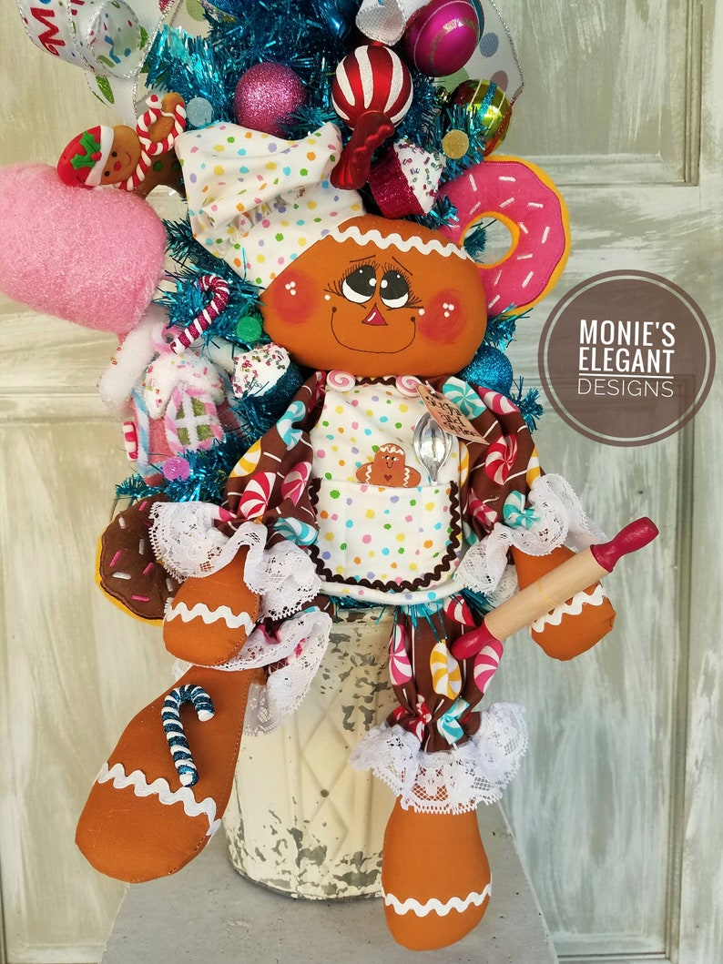 Gingerbread Tree Christmas Centerpiece Rag Doll Centerpiece image 0