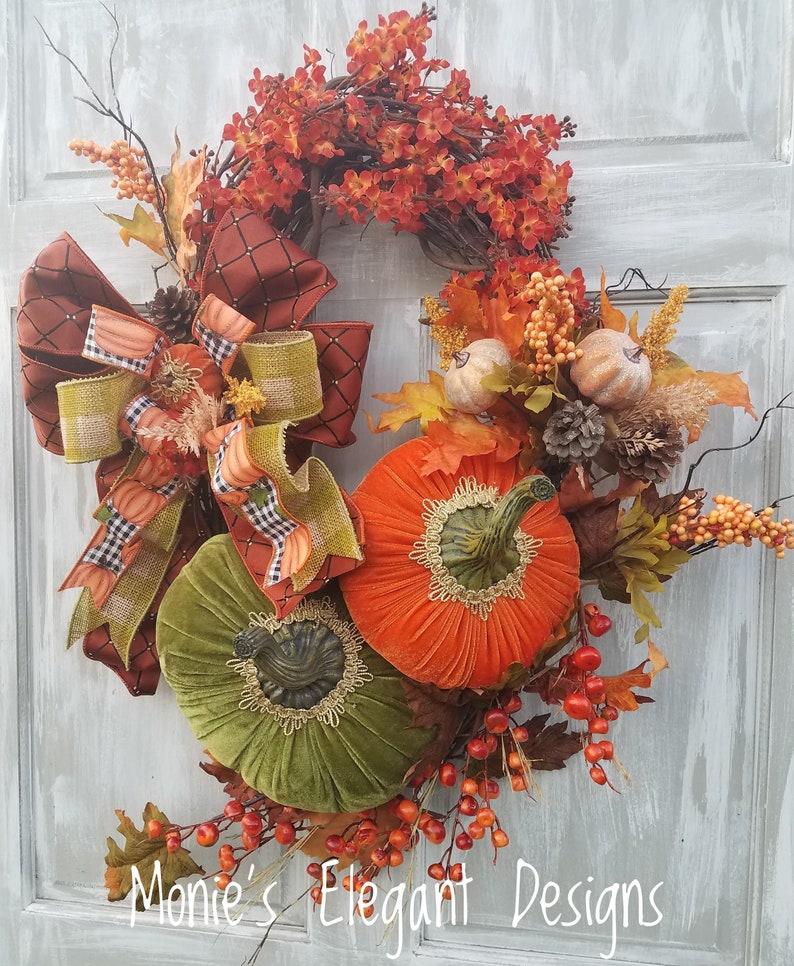 Fall Wreath For Front Door Door Hanger Fall Fall Wreath image 0