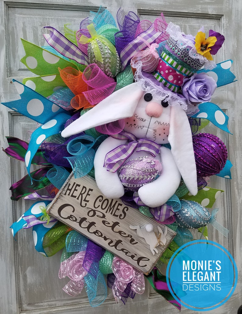 RESERVED For RILDA  XL Easter Swag Easter Bunny Wreath image 0