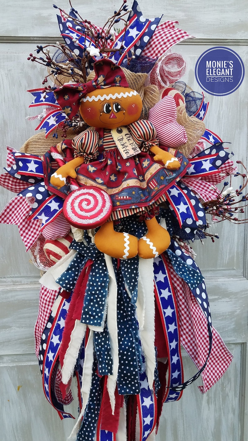 4th of July Wreath For Front Door  Patriotic Rag Doll image 0