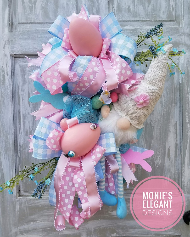 Easter Gnome Easter Gnome Wreath Bunny Gnome Floral image 0