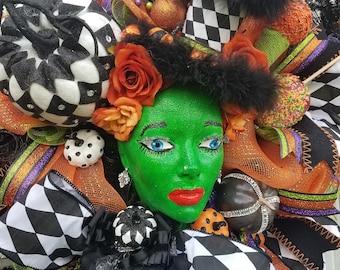 Halloween Wreath, Mannequin Head Display, Halloween Swag, Rag Bow Wreath, Witch Wreath, Witch Decor, Halloween Decor, Skeleton Wreath