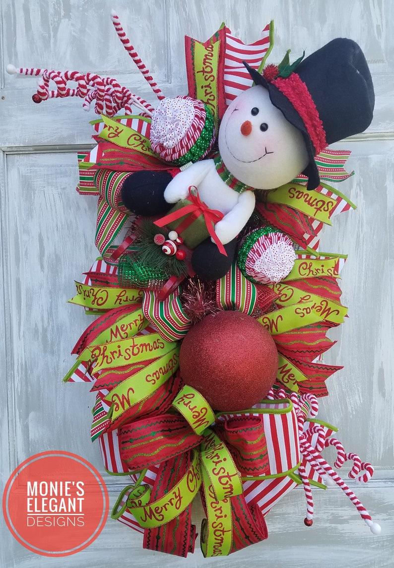 Snowman Wreath Snowman Swag Christmas Wreath Holiday Swag image 0
