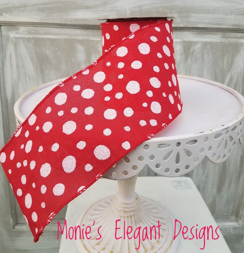 10 yards 4 Inch Wired Ribbon Red Polka Dot Ribbon Red Wired image 0
