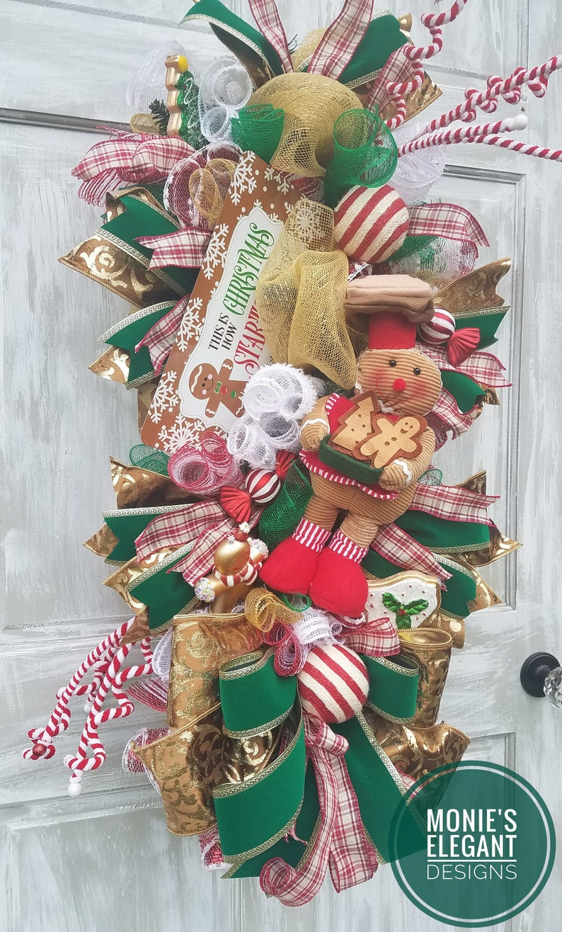 Christmas Wreath Holiday Swag Holiday Wreath Gingerbread image 0