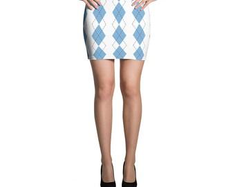 UNC Argyle Mini Skirt