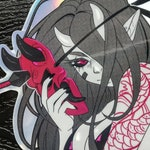 Oni Mask | Holographic Sticker
